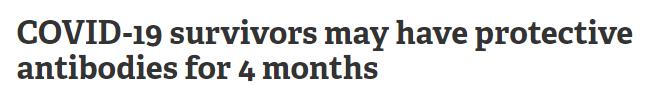 الأجسام المضادة تستمر 4 أشهر