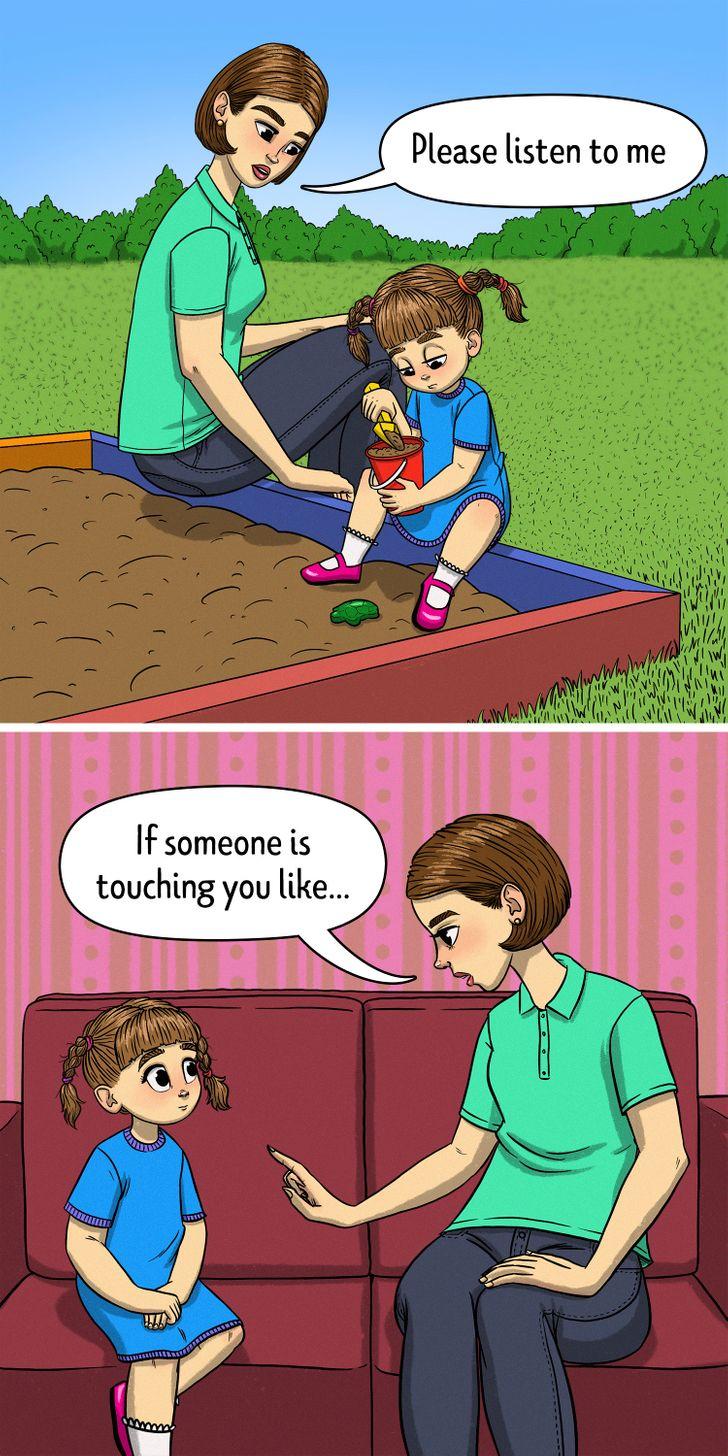تحدثى إلى طفلك بهدوء