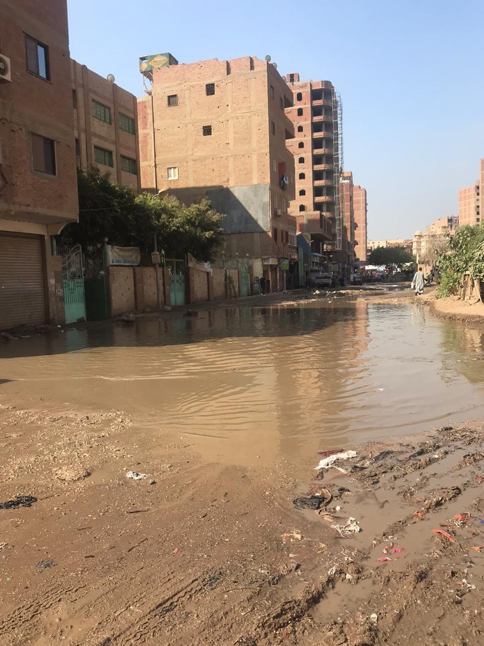 غرق شارع الصرف الصحى