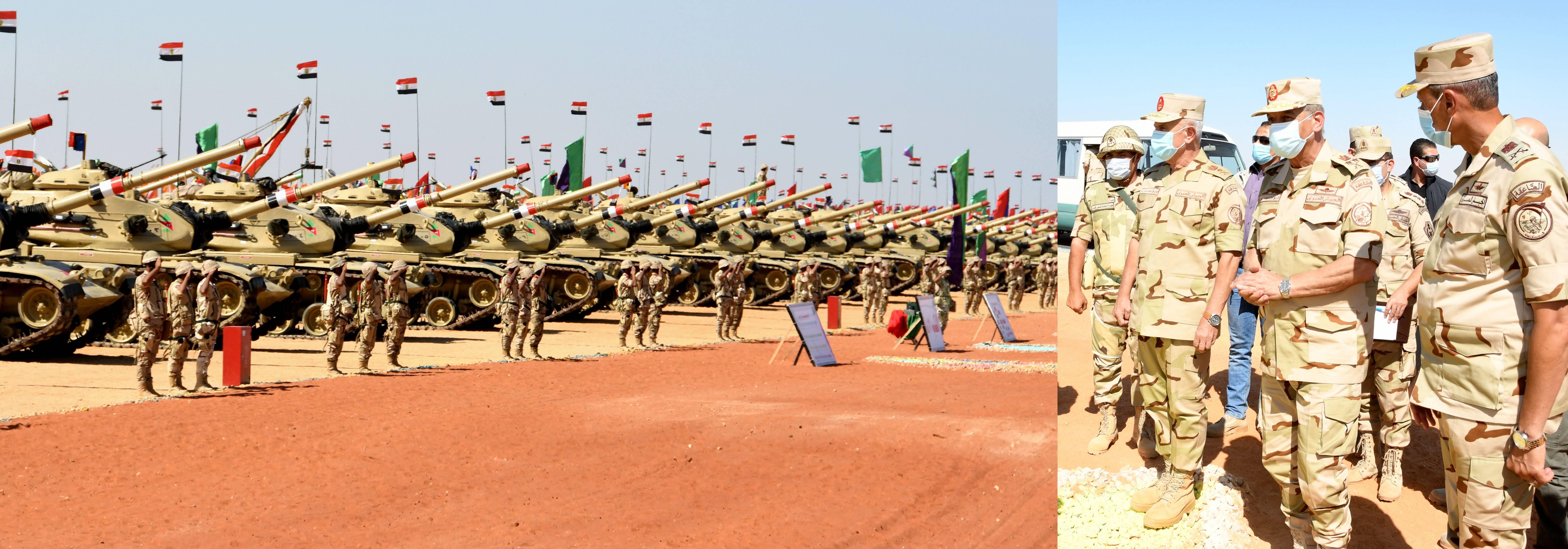وزير الدفاع يتفقد إجراءات تفتيش الحرب لإحدى تشكيلات الجيش الثالث الميدانى (1)
