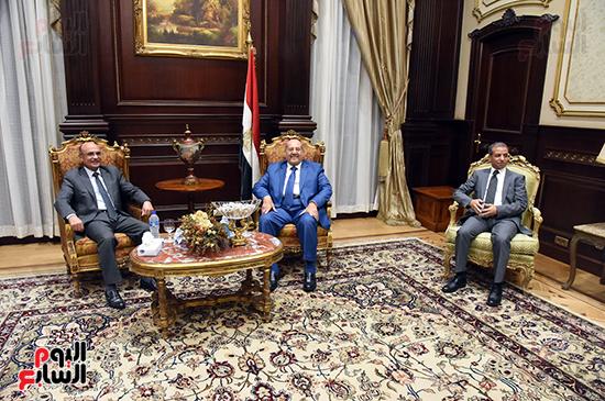 بالصور المستشار عبدالوهاب عبدالرازق رئيس مجلس الشيوخ يسقبل المستشار عمر مروان وزير العدل  ( (6)