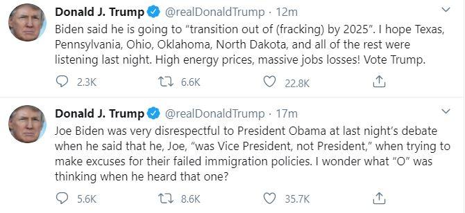 الرئيس الأمريكي عبر تويتر