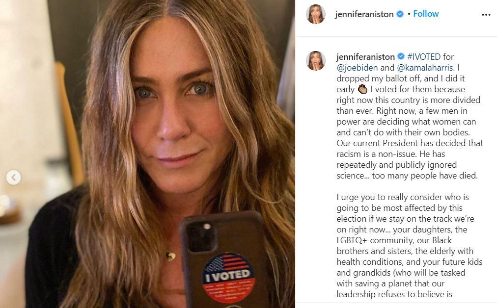 الممثلة الأمريكية جنيفر أنيستون تدعم جو بايدن