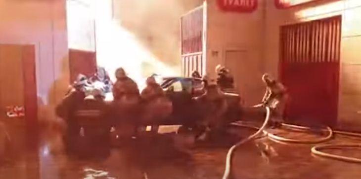 حريق محطة وقود