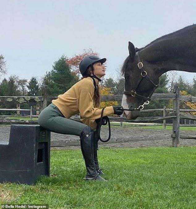 بيلا حديد وحصانها المفضل