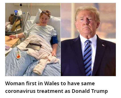 أول امراة ببريطانيا تتلقى علاج دونلد ترامب