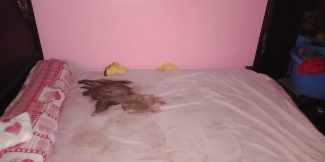 مكان تحلل جثة الطفل على السرير