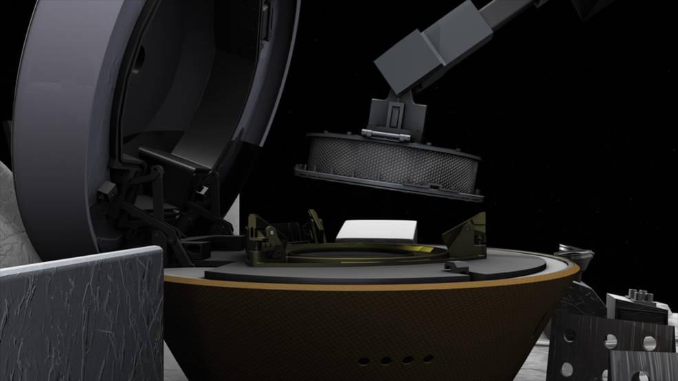 صورة مركبة OSIRIS-REx التابعة لوكالة ناسا تجرى تخزينا مبكرا لعينة من كويكب بينو