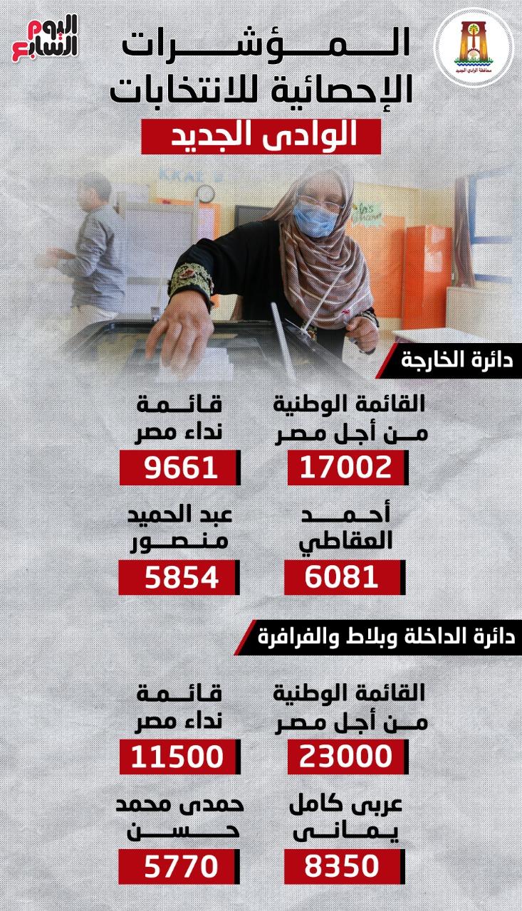 المؤشرات الإحصائية لانتخابات مجلس النواب بدوائر الوادى الجديد.. إنفوجراف