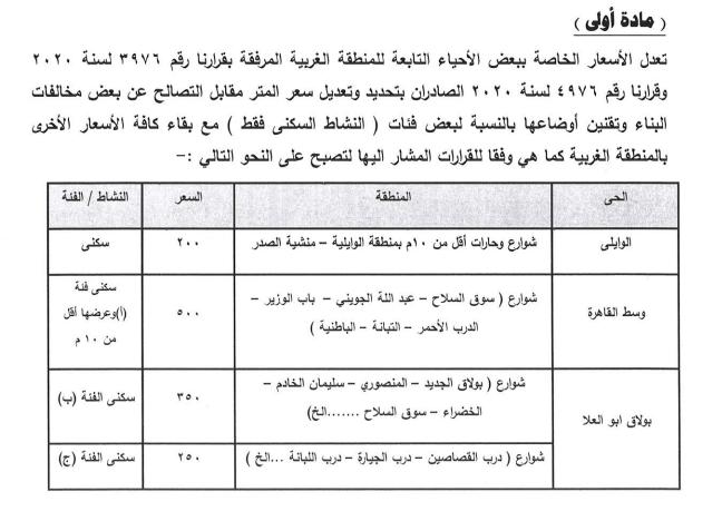 أسعار التصالح الجديدة فى القاهرة  (5)