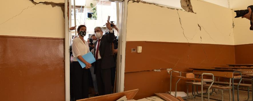 مدرسة متضررة فى بيروت