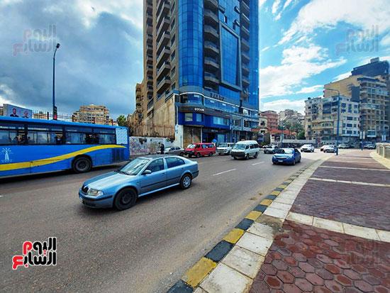2- سيولة مرورية على كورنيش الإسكندرية