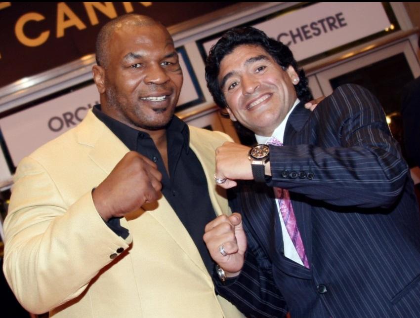 مارادونا مع الملاكم العالمى مايك تايسون بمهرجان كان 2008