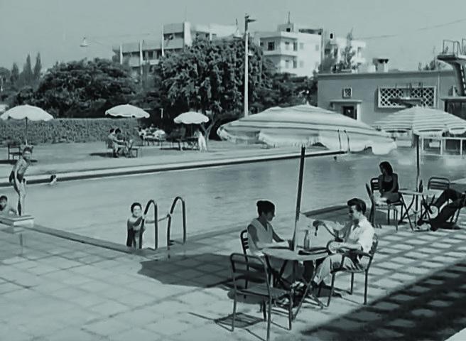 لقطات من فيلم أنا حرة 1959 تم تصويرها في نادي البنك الأهلي المصري  بطولة لبنى عبد العزيز  وكمال ياسين