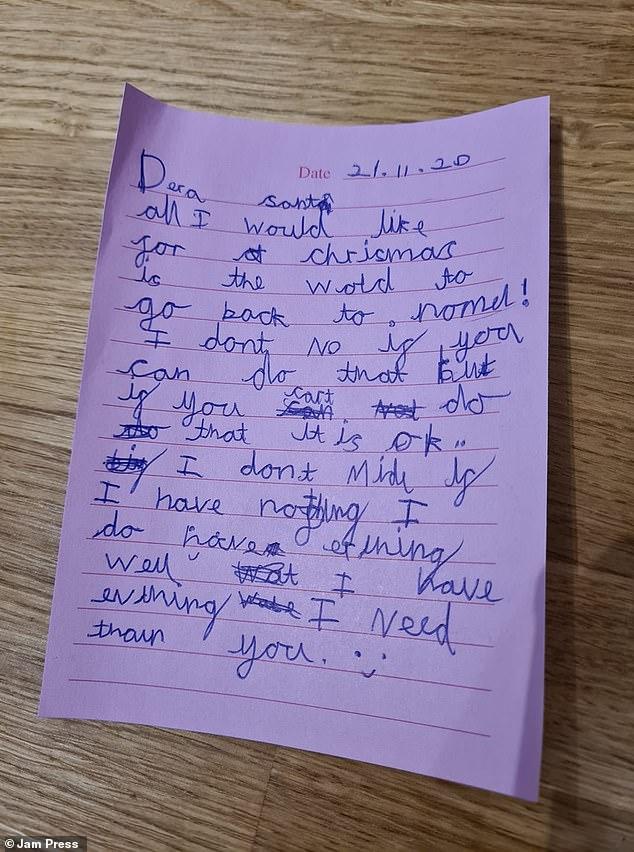 رسالة طفلة بريطانية تطلب من بابا نويل عودة العالم إلى طبيعتيه.. اعرف القصة  (2)
