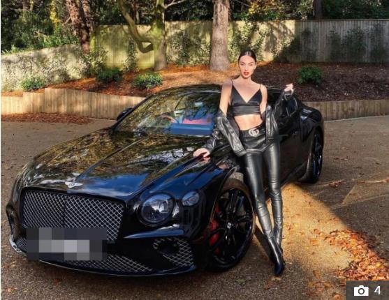 اليسيا بيليتش مع سيارتها البنتلى