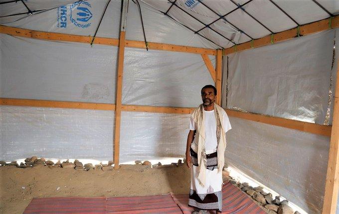 جانب من بناء مأوى اللاجئين