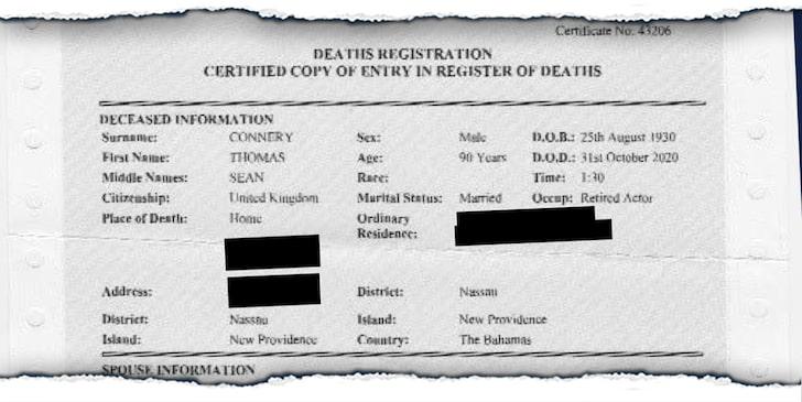 شهادة وفاة شون كونرى