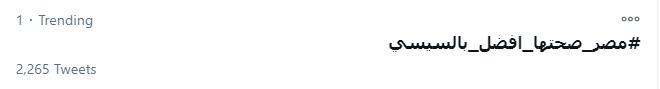 هاشتاج مصر صحتها أفضل مع السيسى يتصدر تويتر