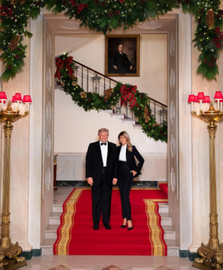 US President Donald Trump and his wife at Christmas celebrations
