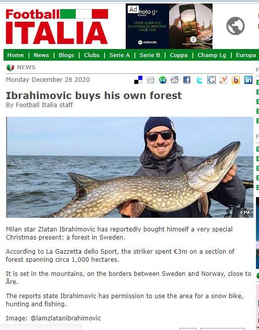 إبراهيموفيتش يصطاد الاسماك