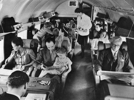 Inside the plane in 1960