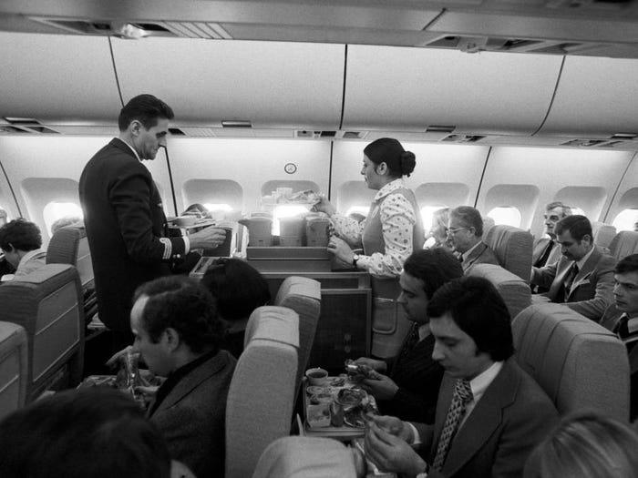 Inside the plane in 1970