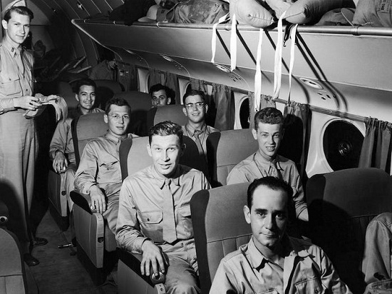 Inside the plane in the forties