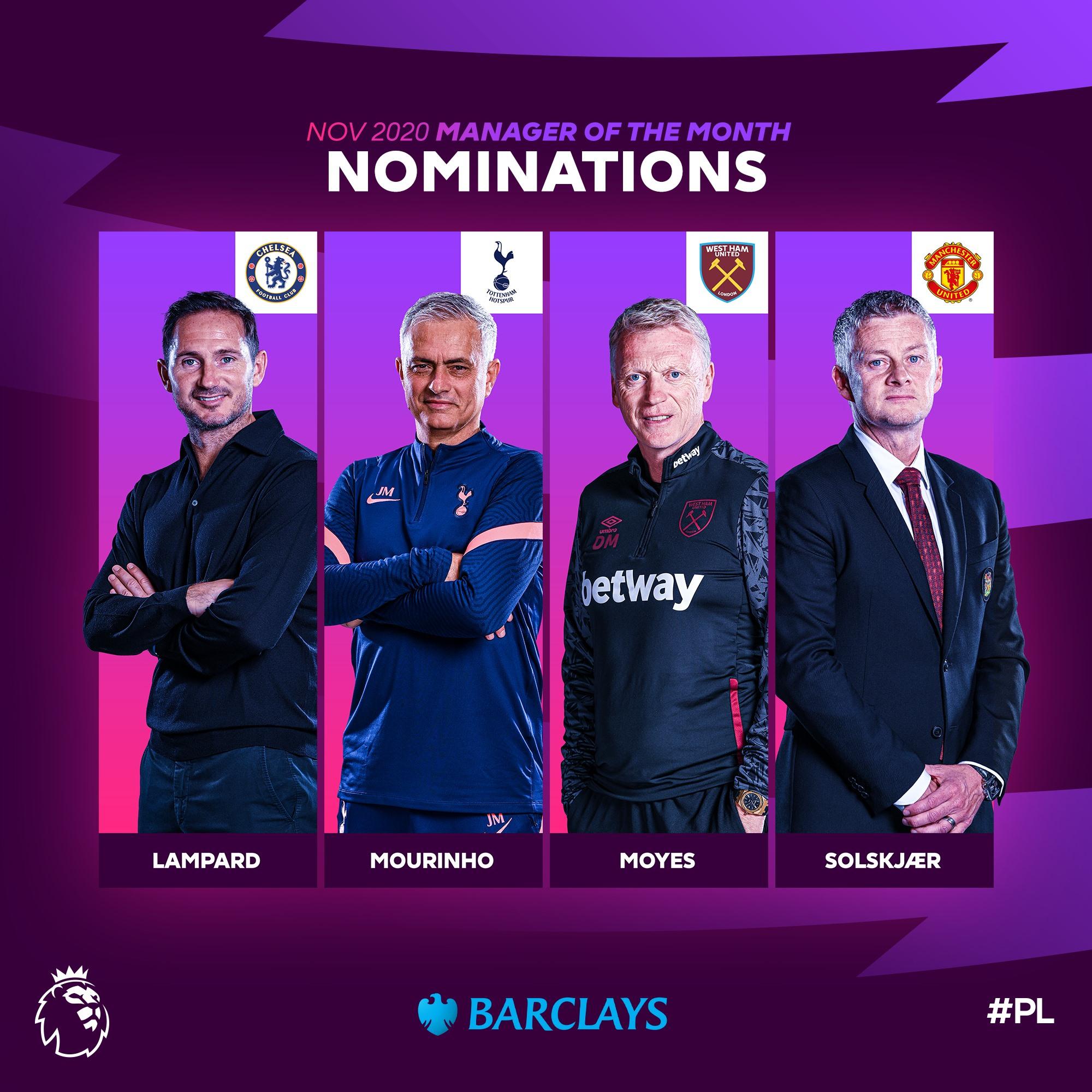 قائمة المدربين المرشحين لجائزة افضل مدرب بالدوري الانجليزي