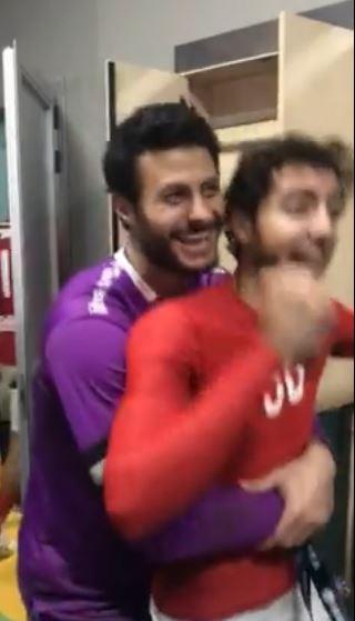 احتفال الشناوي مع لاعبي الأهلي