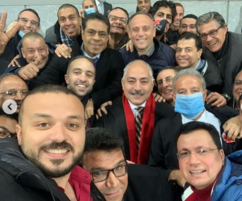 أعضاء مجلس إدارة الأهلي يحتفلون بالفوز