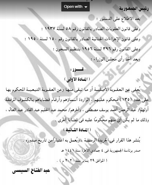 الجريدة الرسمية تنشر قرار العفو عن 135 سجينًا (3)