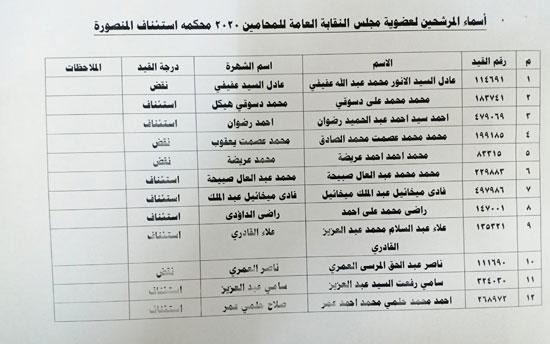 نقابة المحامين تعلن الكشوف النهائية للمرشحين فى انتخاباتها (10)
