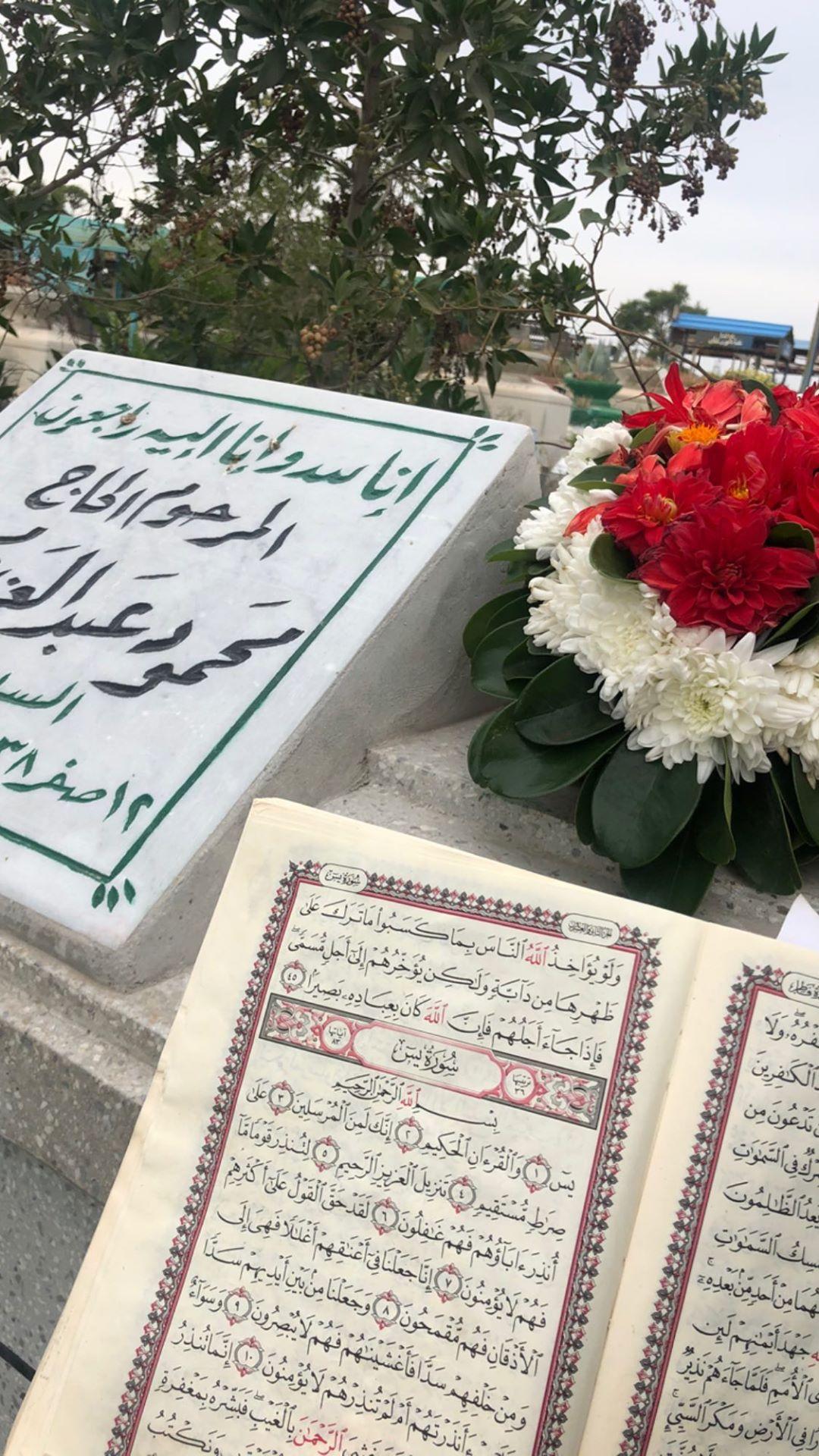 بوسى شلبى تحتفل بالفلانتين أمام قبر زوجها محمود عبد العزيز