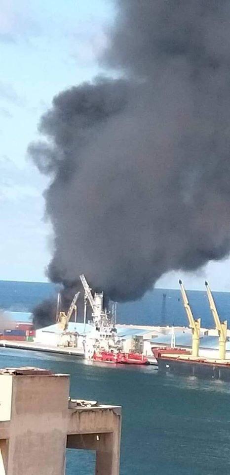 سفينة السلاح التركية بعد ضربها