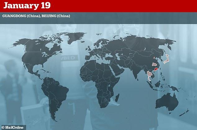 19 يناير بدأت مناطق أخرى في الصين في اكتشاف أن الفيروس