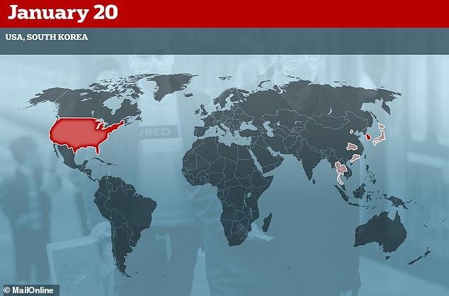 20 يناير أعلنت الولايات المتحدة وكورويا الإصابة