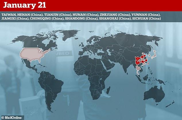 أعلنت المقاطعات في جميع أنحاء الصين رسمياً عن حدوث إصابات في 21 يناير ، مما يظهر أن الفيروس ينتشر بسرعة خارج مدينة ووهان
