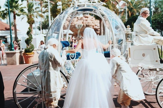 تزوجت كاتلين كوشي في عالم والت ديزني عام 2015 ونقل العروسان بعربة سندريلا