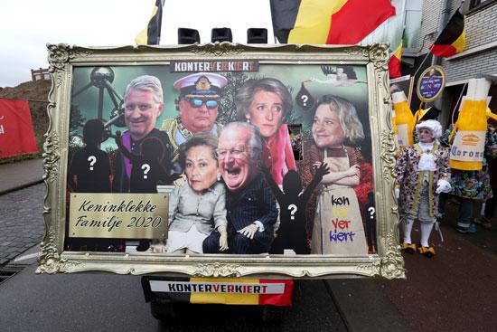 صورة للعائلة المالكة فى بلجيكا خلال الكرنفال