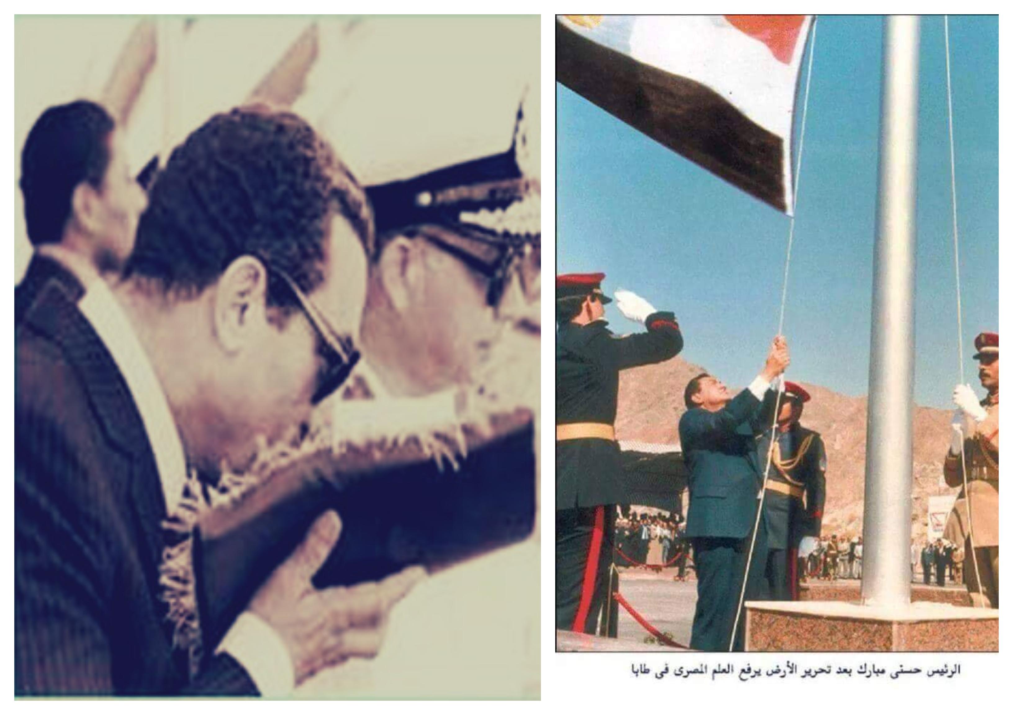 مبارك-يرفع-العلم-المصري-على-طابا