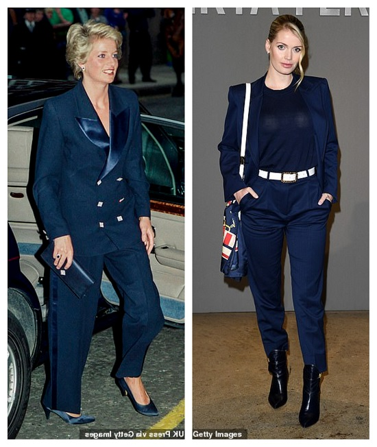 Princess Diana and Lady Kitty in a blue suit