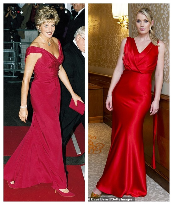 Princess Diana and Lady Kitty in a crimson dress