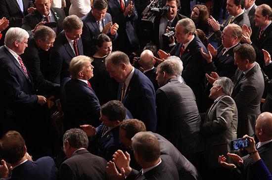 ترامب يصل إلى خطاب حالة الاتحاد فى جلسة مشتركة للكونجرس الأمريكى