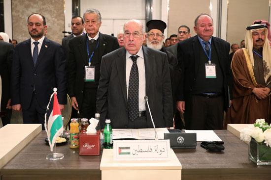 سليم الزعنون رئيس المجلس الوطني الفلسطيني  يحضر جلسة طارئة للبرلمانيين العرب