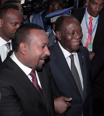 رئيس وزراء إثيوبيا أبي أحمد ورئيس ساحل العاج الحسن واتارا