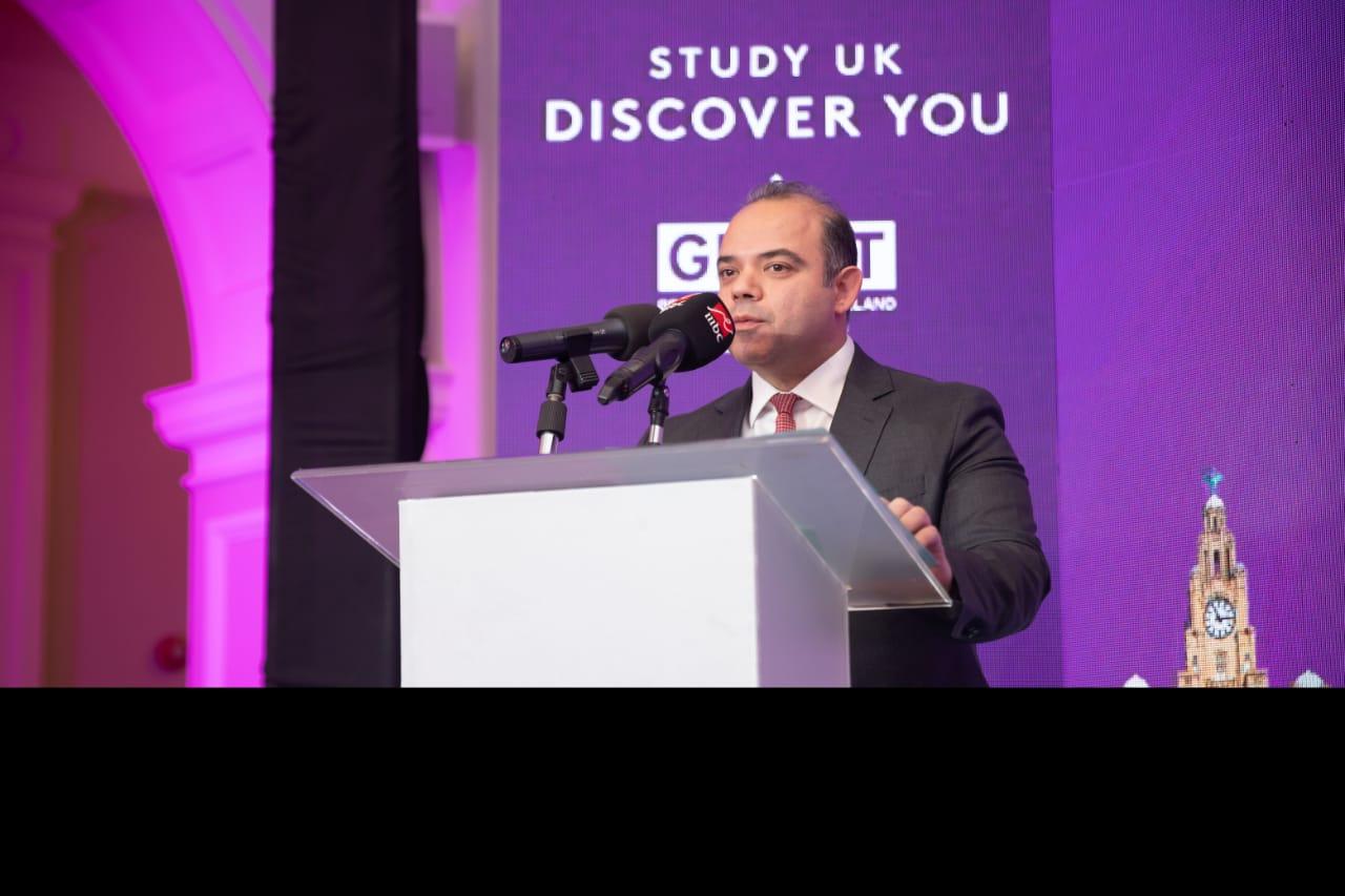 محمد فريد يلقى كلمة خلال احتفالية المجلس الثقافى البريطانى