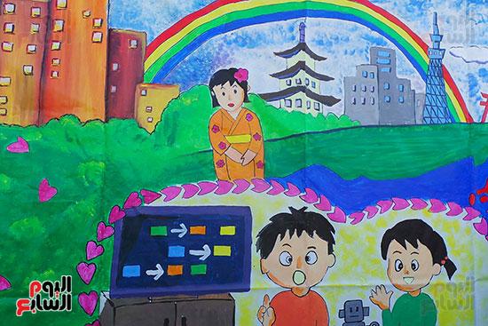 تلاميذ بطوكيو يعبرون عن ثقافتهم فى نصف جدارية فنية (4)