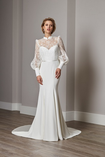 فستان زفاف بأكمام أورجانزا