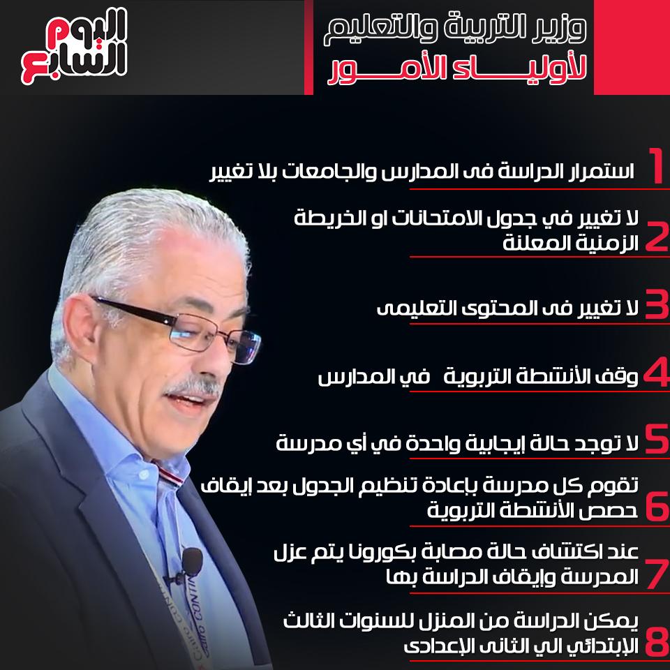وزير التعليم تقليل عدد ساعات اليوم الدراسى والدراسة مستمرة بلا تغيير اليوم السابع